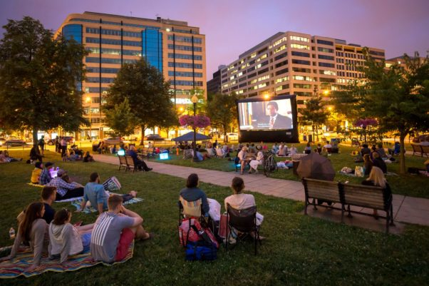 The Golden Cinema Series brings outdoor movies to Farragut Square Fridays after work. (Photo: Golden Triangle BID)The Golden Cinema Series brings outdoor movies to Farragut Square Fridays after work. (Photo: Golden Triangle BID)