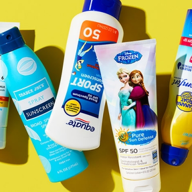The highest-rated sunscreens in Consumer Reports' test are pictures from left to right. (Photo: Dan Saelinger/Consumer Reports)