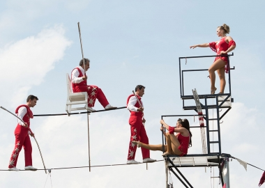 The Wallenda Family Troupe performs at the Smithsonian Folklife Festival on Thursday. (Photo: JB Weilepp/Smithsonian)