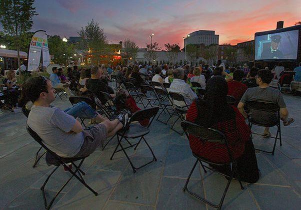 Penrose Square along Columbia Pike in Arlington screens movies every Saturday night. (Photo: Penrose Square)