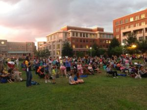 Saturday Cinema at Carlyle will bring an outdoor movie to John Carlyle Square Park the first Saturday of the month from July through October. (Photo: Red Brick Town)