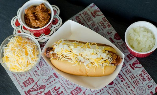 Hot dogs were first imported from Germany, but have become associated with the U.S., including Coney Island. (Photo: JJ's Red Hots)