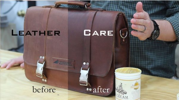 Before and after photo of brief case treated with protectorant (Photo: Rugged Material Travel Goods)