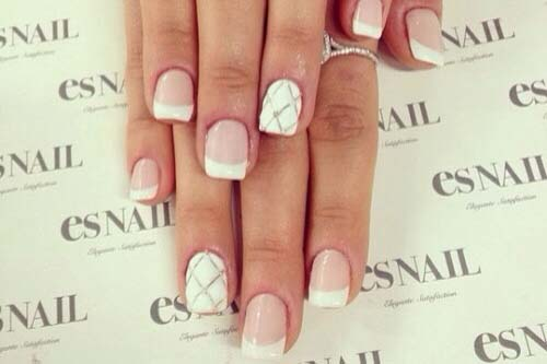 The French manicure with a twist is a basic French manicure with non-traditional colors or shapes. (Photo: Ritely)