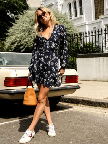 Dress by Realisation Par; shoes by Veja; bag by Simon Miller; and sunglasses by Gucci. (Photo: Frances Davison)