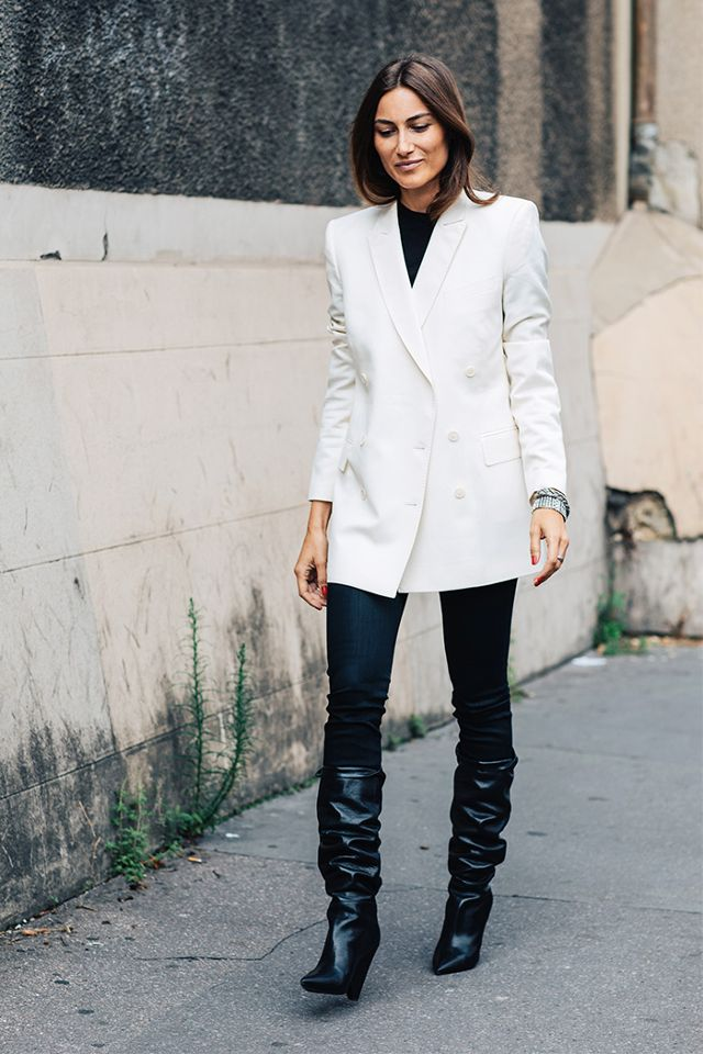 Giorgia Tordini wearing slouch boots at Paris Couture Week. (Photo: Sandra Semburg)