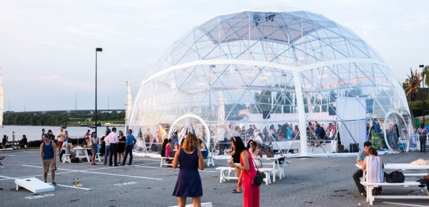 National Harbor's Harbor Dome: Summer Snow Globe is a cool cocktail bar and performance space. (Photo: Rey Lopez)