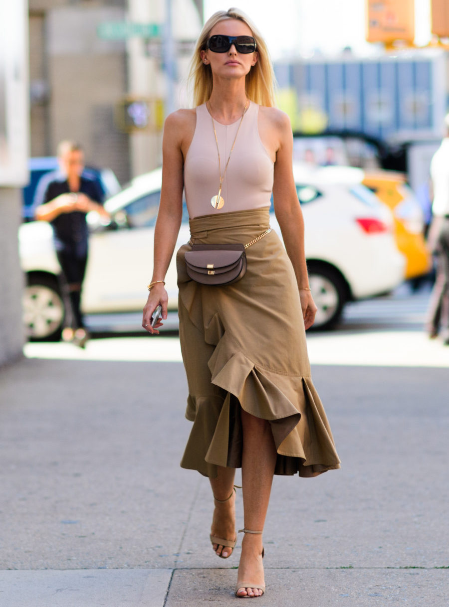 Ruffles highlight the folds of the fabric on a wrap skirt. (Photo: Pinterest)