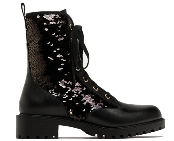 Glitter will be every where this fall including on your feet like with this Zara sequinned laced up ankle boot. (Photo: Zara)