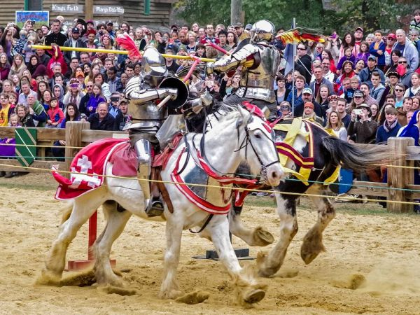 Knights joust at the Maryland Reniassance Festival near Annapolis, which is open weekends through Oct. 22. (Photo: Donna Headlee)