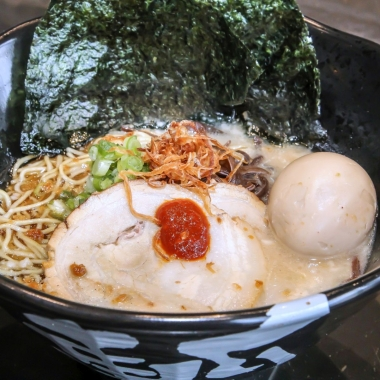 Jinya serves ramen with a choice of five broths, four types of noodles and 23 toppings including this tonkotsu black ramen. (Photo: Peter Stepanek)