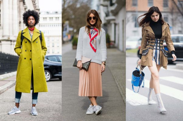 Chic sneakers with a bright wool overcoat, a summer midi with fall accessories or bare legs with boots and a utility jacket can help you transition from summer to fall. (Photos: Getty Images)
