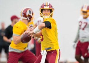 Quarterback Kirk Cousins practices last week for the Redskins  home opener against the Philadelphia Eagles. (Photo; Washington Redskins)