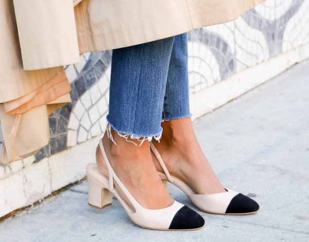 Sling backs are more comfortable than a pair of pumps, and look super feminine and chic. (Photo: Sophia Emm)