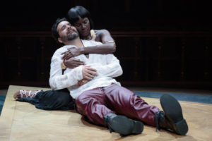 Cleopatra (Shirine Babb) gives comfort to her dying Mark Antony (Cody Nickell) in Folger Theatre's production of Shakespeare's Antony and Cleopatra. (Photo: Teresa Wood)