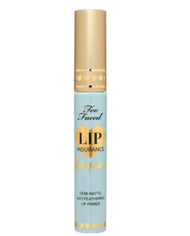 A lip primer is needed so your lipstick does not bleed onto napkins or disappear while eating all those pies. (Photo: Too Faced)