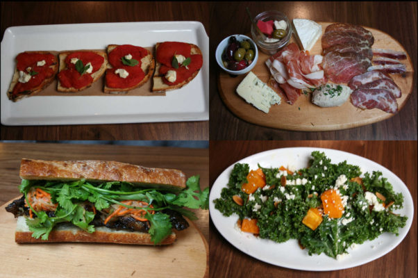 The market's grab-and-go menu includes house oil-cured tomato, goat cheese and oregano on grilled bread (clockwise from top left); the vintners plate with artisinal cheese, charcuterie, rillette and house-made pickles; kale salad with butternut squash, pepitas and roasted apples; and a pork belly bahn mi. (Photos: Mark Heckathorn/DC on Heels)