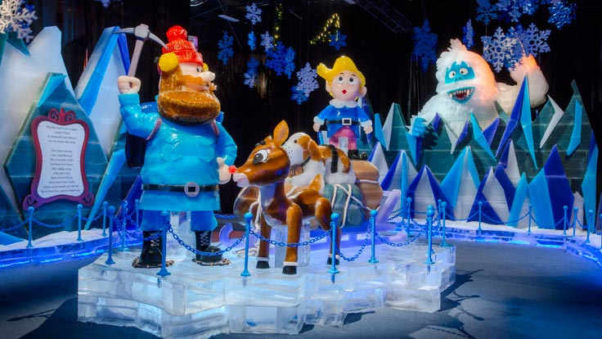 Ice! at the Gaylord National featuers <em>Rudolph the Red-Nosed Reindeer</em> carved in life-sized blocks of ice. (Photo: Gaylord National)