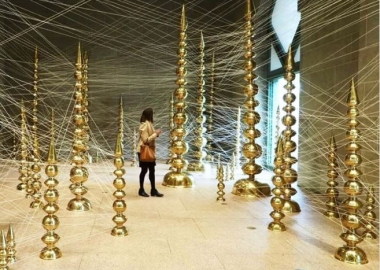 Terminal at the Freer|Sackler Galleries featues brass towers connected by thread. (Photo; golightly/Instagram)