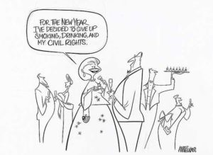 This political cartoon by Ann Telnaes from Oct. 28, 2001 is part of the Library of Congress' Drawn to Purpose display. (Photo: Library of Congress)