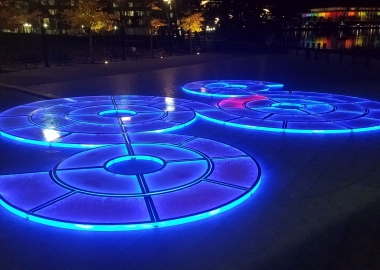 Aqueous by Jen Lewin is one of nine light displays that are part of this year's Georgetown Glow. (Photo: Mark Heckathorn/DC on Heels)