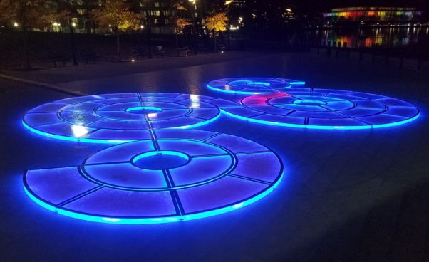 <em>Aqueous</em> by Jen Lewin is one of nine light displays that are part of this year's Georgetown Glow. (Photo: Mark Heckathorn/DC on Heels)