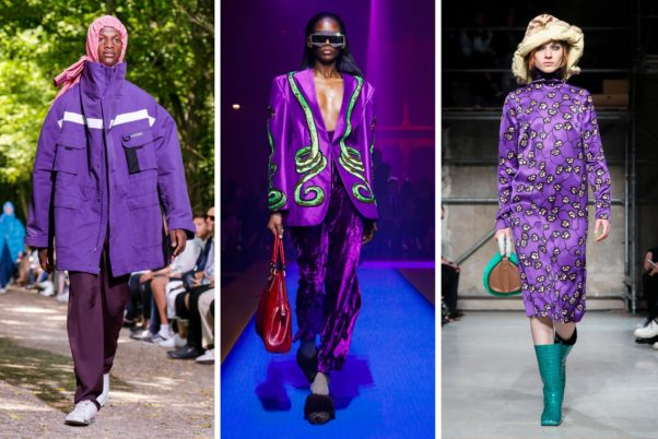 Ultra Violet was seen in the Fall 2017 and Spring 2018 runway shows of Balgenciaga, gucci and Marni (l to r). (Photo: Nowfashion)