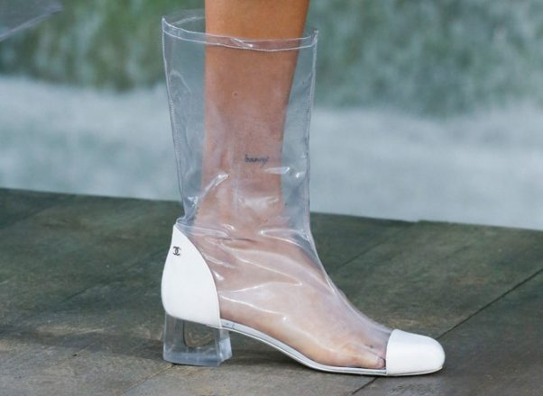 Plastic shoes from Chanels Spring 2018 collection (Photo: Indigital.tv)