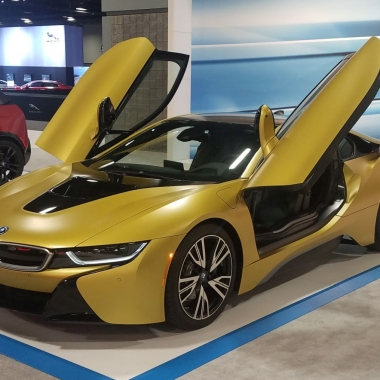 The BMW i8, combines a plug-in hybrid drive system with a passenger cell made from carbon-fiber-reinforced plastic and an aluminum frame The 2+2-seater is one of the cars on display at the Washington Auto Show. (Photo: Mark Heckathorn/DC on Heels)
