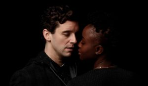 Hamlet (<em>Ugly Betty<em>'s Michael Urie, left) with Ophelia in Shakespeare Theater Company's <em>Hamlet</em>. (Photo: Shakespeare Theater Company)