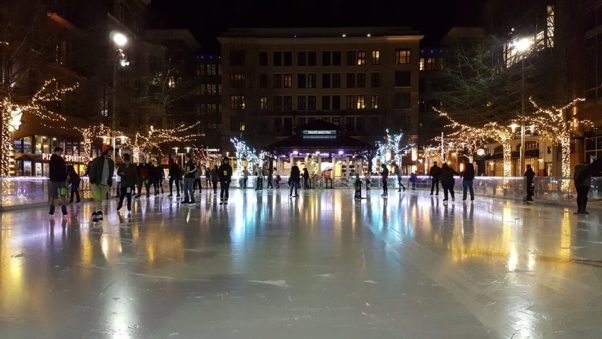 Rockville Town Square's ice rink is the largest in Montgomery County.  (Photo: Rockville Town Square Outdoor Ice Skating/Facebook)