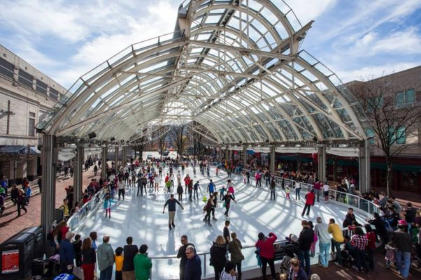 The Reston Town Center ice rink is in the center's pavilion. (Photo: Reston Town Center)