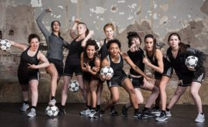 <em>The Wolves</em> at  Studio Theatre is about a girls' indoor soccer team. (Photo: Teddy Wolfe)