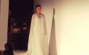Carmen Marc Volvo's ght wedding ball gown dresses with sheer long sleeves and floral embroidery featured capes. (Photo: Johnna French/DC on Heels)
