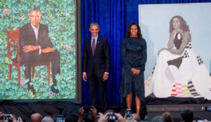 President Barrack Obama and First Lady Michelle Obama's offical portraits were unveiled Wednesday and are now on disply. (Photo: AP)