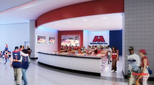 Iron Chef Cat Cora and local restauranteur Alex McCoy will bring new eateries to Capital One Arena in the fall after it gets a facelift. (Rendering: Gensler Sports)