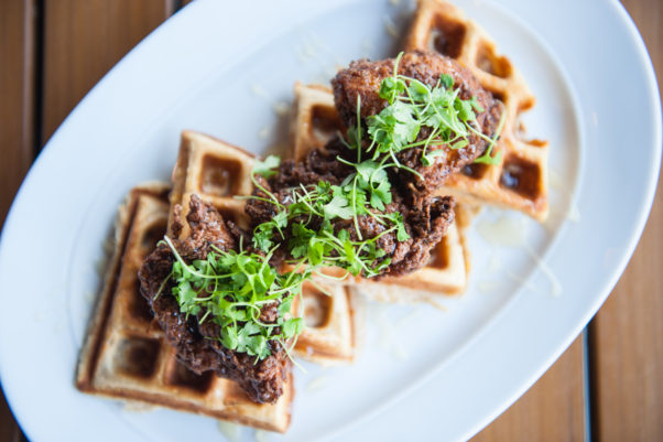 Chicken and waffles is on Red's Table's new weekend brunch menu. (Photo: Red's Table)