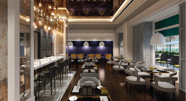 Opaline, a new upscale French restaurant, will replace ICI Urban Bistro at the Sofitel Hotel near Layfayette Square in April. (Rendering: Sofitel)