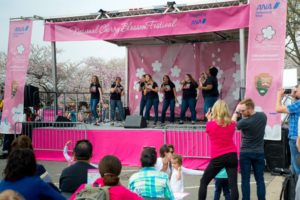 Despite the lack of cherry blossoms, the Tidal Basin Welcome Area and Performance Stage opens Saturday. (PHoto: National Cherry Blossom Festival)