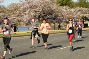 The Credit Union Cherry Blossom runs take particiapants around the Tidal Basin and monuments. (Photo: Team Mallet)