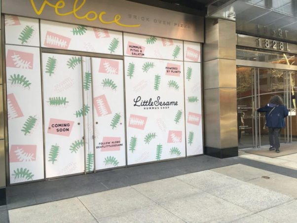 The Little Sesame hummus shop will replace Veloce pizza in Farragut North. (Photo: Lila Guterman)