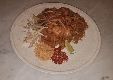 Phad thai shirmp is served with sprouts, peanuts, red chili flakes and lime on the side so it can be added to suit individual diner's tastes. (Photo: Mark Heckathorn/DC on Heels)