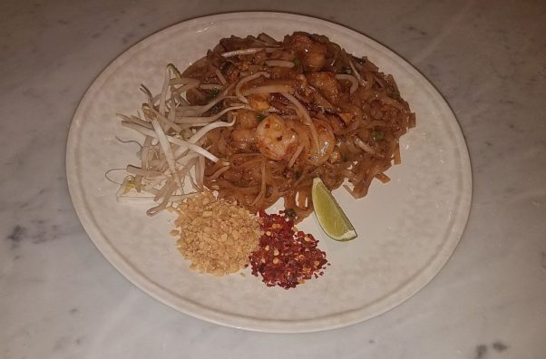Phad thai shirmp is served with sprouts, peanuts, red chili flakes and lime on the side so it can be added to suit each individual diner's tastes. (Photo: Mark Heckathorn/DC on Heels)