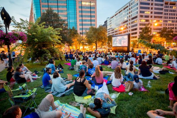 The Golden Cinema Series brings outdoor movies to Farragut Square Fridays after work. (Photo: Golden Triangle BID)