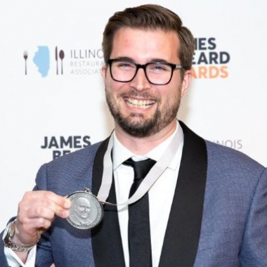 Chef Jeremiah Langhorne of The Dabney with his medal after winning the James Beard Foundation's Best Chef Mid-Atlantic award. (Photo: Huge Galdones)