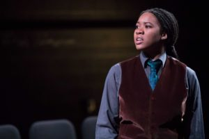 Dria Brown as Joan of Arc in <em>Saint Joan</em> at the Folger Theatre. (Photo: C. King Photography)