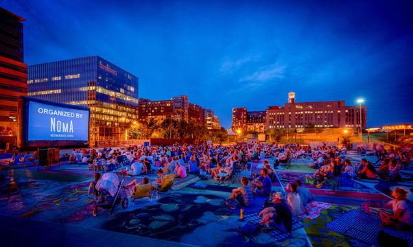 The NoMa Summer Screen shows free movies in Storey Park each Wednesday. (Photo: NoMa BID)