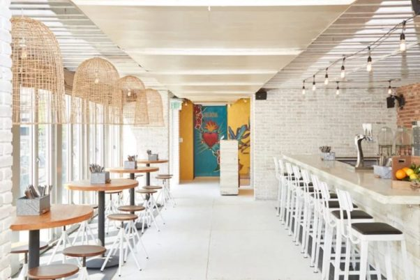 Tacos, Tortas & Tequila's main dining room and bar. (Photo: Mark Heckathorn/DC on Heels)