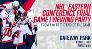 Watch the Capitals take on the Tampa Bay Lightning on a 40-foot screen in Gateway Park after work Friday. (Image: Washington Captials)