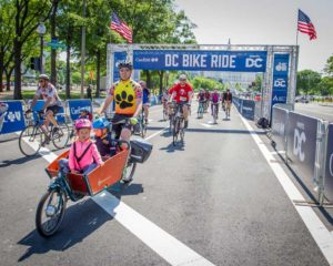 The D.C. Bike Ride is a 20-mile ride past the monument on city streets closed to vehicles followed by a festival at the finish line. (Photo: D.C. Bike Ride)